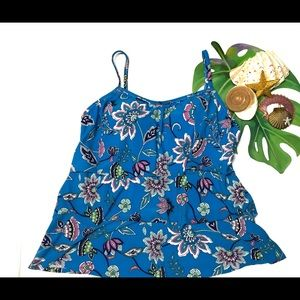 NWT Caribbean Joe Swim Ruffled Floral Print  Top
